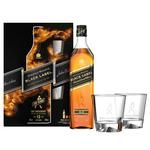 Виски Johnnie Walker Black label 12 лет 40% 0.7л + 2 стакана