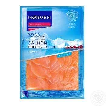 Семга Norven слабосоленая нарезанная 180г - купить, цены на Novus - фото 1