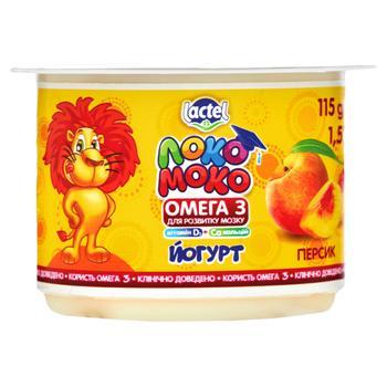 Йогурт Lactel Локо Моко персик, збагачений кальцієм, омега 3 та вітаміном D3 1,5% 115г - купити, ціни на CітіМаркет - фото 1