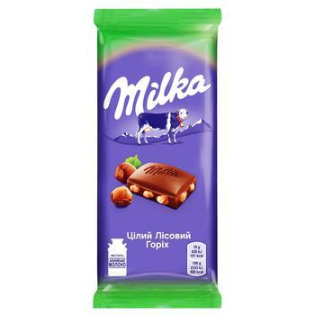 Шоколад молочный Milka с цельными лесными орехами 90г - купить, цены на СитиМаркет - фото 1