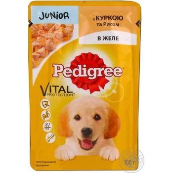 Корм Pedigree для щенков с курицей и рисом в желе 100г