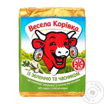 Сыр Веселая Коровка с зеленью и чесноком плавленный 50% 90г - купить, цены на Ашан - фото 1