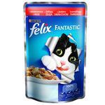 Корм Felix Fantastic З яловичиною у желе для дорослих котів 100г