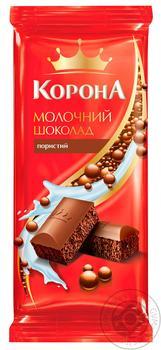 Шоколад Корона молочный пористый 80г