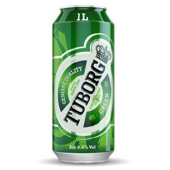 Beer Tuborg light 4.6% 1000ml can Ukraine