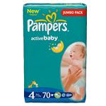 Підгузники дитячі Памперс Актив Бебі Mаксі 4 (7-14кг) Джамбо упаковка 70шт