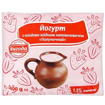 Йогурт Выгода клубничный 1,5% 400г
