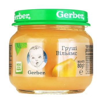 Пюре Гербер фруктовое груши вильямс без крахмала и сахара для детей с 4 месяцев 80г