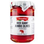 Оливки красные Santolino Джамбо большие с кісточками в рассоле консервированные пастеризованные 290г
