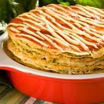 Блинный пирог с травами и грибной начинкой