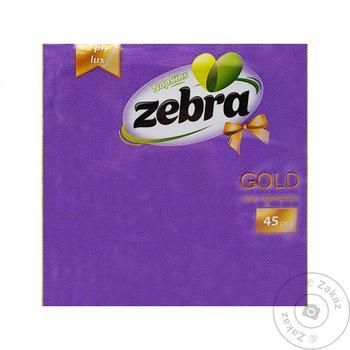 Салфетки фиолетовые Zebra gold двухслойные 45шт - купить, цены на Таврия В - фото 1