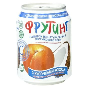 Non-alcoholic non-carbonated juice-containing drink with peach juice and coconut pieces Fruiting can 238ml Russia - buy, prices for CityMarket - photo 1