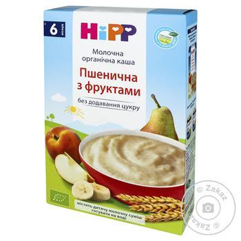 Каша детская HiPP Пшеничная с фруктами молочная органическая без сахара с 6 месяцев 250г - купить, цены на МегаМаркет - фото 1