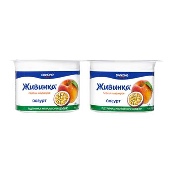 Zhyvynka Peach-Passion Fruit Flavored Yogurt 1,5% 4pcs*115g - buy, prices for CityMarket - photo 1