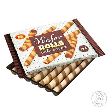 Трубучки вафельные Бисквит-Шоколад с какао 77г - купить, цены на Фуршет - фото 1