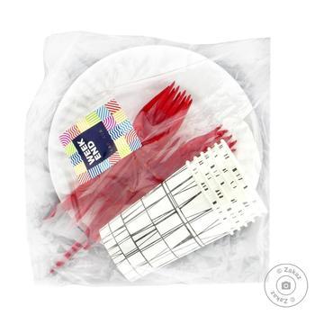 Набір посуду №5 для 6 осіб Вікенд (тарілка 18 см картон,стакан 210 мл.,виделка) - купить, цены на Novus - фото 1
