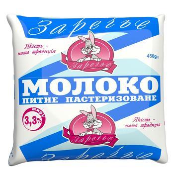 Молоко Заречье питьевое пастеризованное 3,3% 450г - купить, цены на Восторг - фото 1