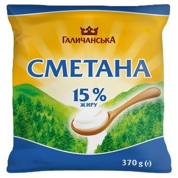 HalychanskA Sour cream 15% 370g - buy, prices for CityMarket - photo 1
