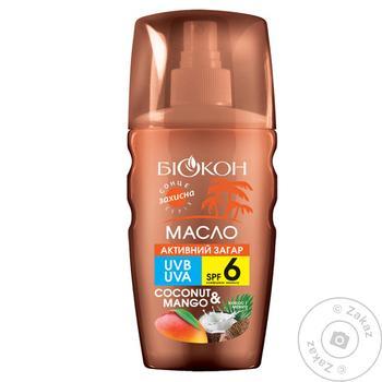 Масло для загара Биокон Активный загар кокос и манго SPF-6 160мл
