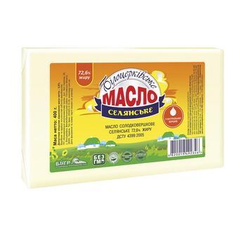 Масло Білоцерківське Селянське солодковершкове 72.6% 450г Україна - купити, ціни на Восторг - фото 1