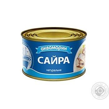 Сайра Аквамарин натуральная с добавлением масла 230г - купить, цены на Novus - фото 1