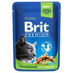 Влажный корм для стерилизованных кошек Brit Premium Cat Chicken Slices for Sterilised pouch кусочки курицы 100г