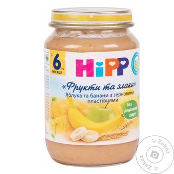 Каша детская ХиПП Яблоки и бананы с зерновыми хлопьями Фрукты и злаки с 6 месяцев 190г - купить, цены на Ашан - фото 1