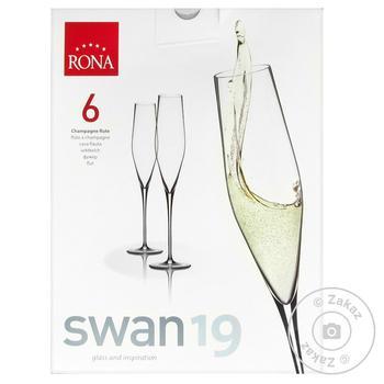 Набор бокалов Rona Swan для шампанского 6шт 190мл