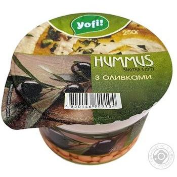 Закуска из нута Hummus Yofi Средиземноморская с оливками 250г - купить, цены на МегаМаркет - фото 1