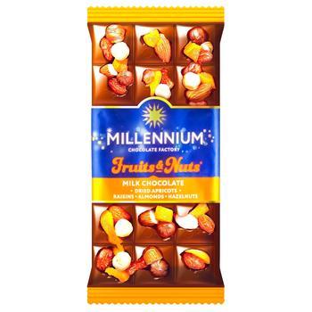 Шоколад молочный Millennium Fruits&Nuts с миндалем, цельными лесными орехами, курагой и изюмом 80г - купить, цены на Фуршет - фото 1