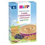 Каша дитяча ХіПП 5 злаків з чорносливом та пробіотиками молочна з 6 місяців 250г