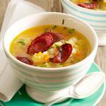 Суп с мясными колбасками
