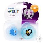 Пустушка Avent для хлопчиків кит+пінгвін 6-18 місяців 2шт