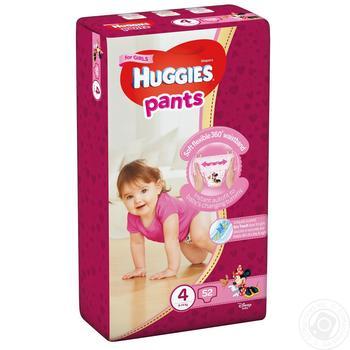 Трусики-підгузники Хаггіс 4 для дівчаток 9-14кг 52шт - купити, ціни на Ашан - фото 1