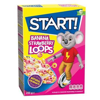 Сухие завтраки Start! Кольца со вкусом клубники и банана 250г
