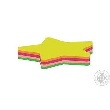 Блок для нотаток з клейким шаром Зірка 45х50 мм Economix, 80 аркушів, неон міксE20955