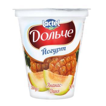 Йогурт Дольче ананас-дыня 3,2% 280г