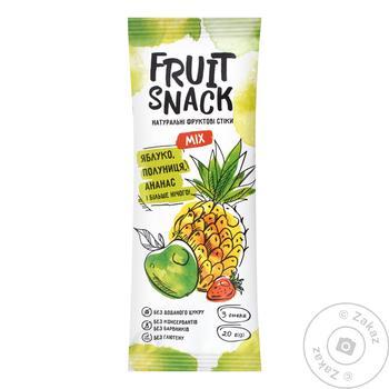 Снеки фруктовi Fruit Snack Mix Яблуко-Полуниця-Ананас без цукру 20г