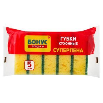 Губка кухонна Бонус Суперпіна крупнопориста 5шт - купити, ціни на Восторг - фото 1