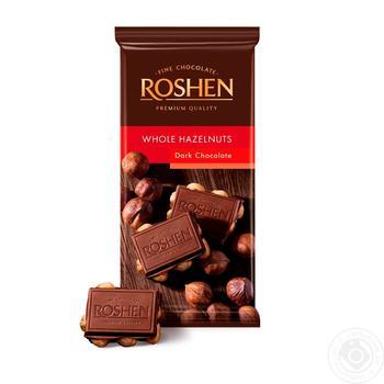Шоколад Roshen Classic экстрачерный с целыми лесными орехами 90г - купить, цены на Novus - фото 1