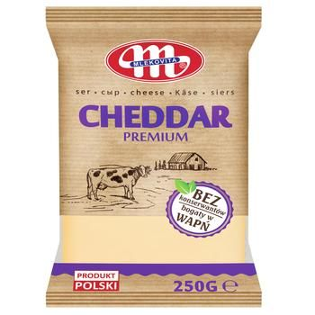 Сыр Mlekovita Чеддер Premium 50% 250г