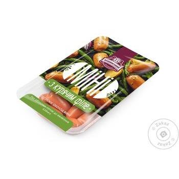 Сосиски Бащинский Мини с куриным филе 1/с 350г - купить, цены на Метро - фото 1