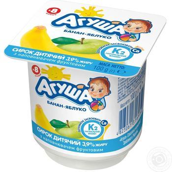Творожок детский Агуша яблоко-банан с 8 месяцев 3.9% 100г