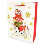 Пакет паперовий Happycom 14х16х7 см різдв. преміум XGBРB