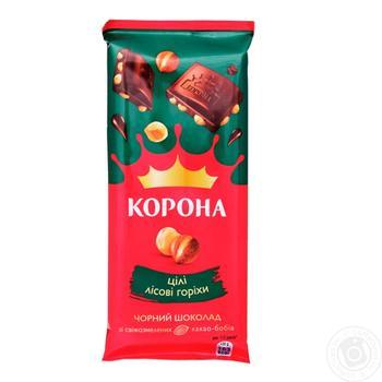 Шоколад Корона чорний з цілими лісовими горіхами 90г - купити, ціни на CітіМаркет - фото 1