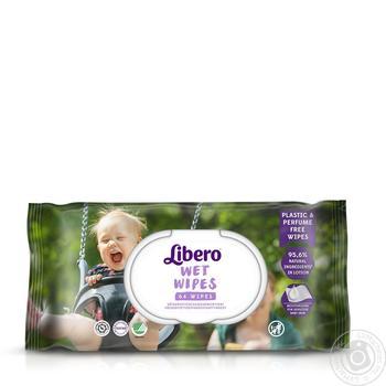 Салфетки влажные Libero Wet Wipes детские 64шт - купить, цены на Ашан - фото 1