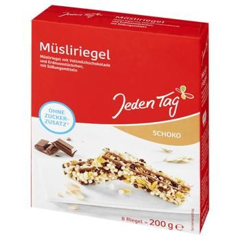 Jeden Tag Muesli Bar With Chocolate Without Sugar 200g - buy, prices for Furshet - image 1