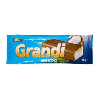 Мороженое Laska Grandi эскимо ванильное с наполнителем Кокос в кондитерской глазури 80г - купить, цены на Таврия В - фото 1