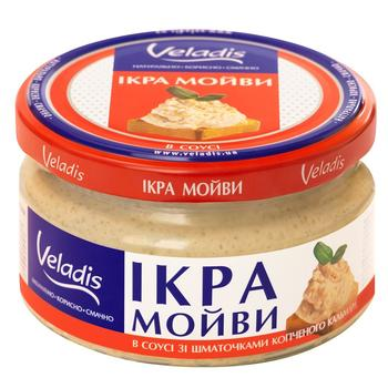 Икра Мойвы в соусе с кусочками копченого кальмара Veladis 180г - купить, цены на Novus - фото 1