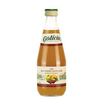 Сок Galicia яблочный с экстрактом корицы 0,3л стекло
